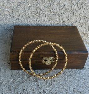 Pair of Gold Tone Twisted Bangle Bracelet